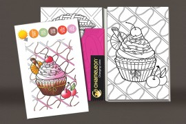 Cartes de coloriage en relief - Sweet delices - 16 cartes et 8 designs Chameleon Pens
