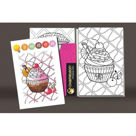 Cartes de coloriage en relief - Sweet delices - 16 cartes et 8 designs Chameleon Pens