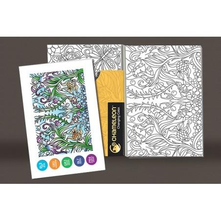 Cartes de coloriage en relief - Reflets d'images- 16 cartes et 8 designs Chameleon Pens